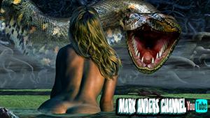 girl and titanoboa snake