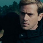 Armie Hammer in motorcycle chase.